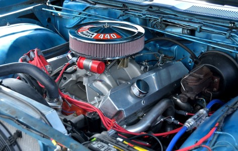 STATHAM, GEORGIA, USA - JULY 18, 2015: Customized car engine displayed at the annual Drive In Car Show. This event was held at Statham, Georgia.