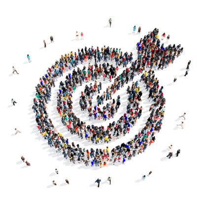 Large and creative group of people gathered together in the shape of a target . 3d illustration, isolated, white background.
